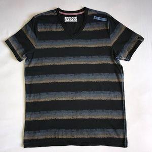 DKNY JEANS striped short sleeve v-neck Tee, M